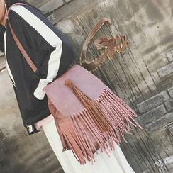 Hase Babe - Faux Leather Fringe Flap  Backpack