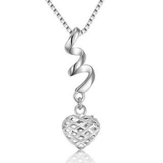 MaBelle - 14K White Gold Swirling Filigree Style Puffed Heart Necklace (16'')