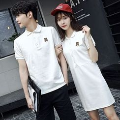 Je T'aime - Couple Matching Embroidered Polo Shirt / Polo Dress