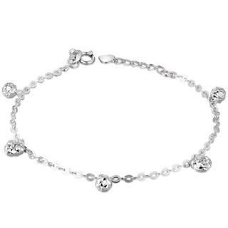 MaBelle - 14K White Gold Diamond-Cut Ball & Buff Heart Anklet / Bracelet (8'')