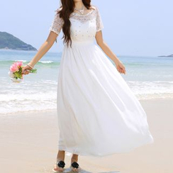 Furuto - Embellished Off-shoulder Sundress