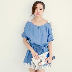 Tokyo Fashion - Cutout-Shoulder Lace-Trim Denim Tunic