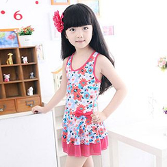 Aqua Wave - Kids Floral Print Frilled Swimdress
