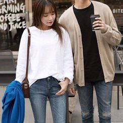 Seoul Fashion - Couple Long-Sleeve Loose-Fit T-Shirt