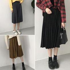 Moon City - Plain Pleated Midi Skirt