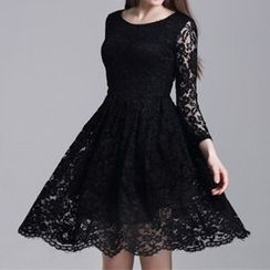 Dream a Dream - 3/4-Sleeve Lace Tie Waist Dress