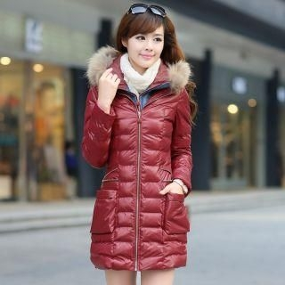 Mooiee - Furry-Trim Hooded Puffer Coat