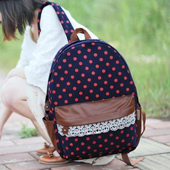 SUPER LOVER - Lace-Trim Dotted Canvas Backpack
