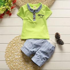 POMME - Kids Set: Short-Sleeve Top + Pinstriped Shorts