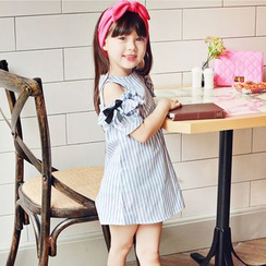 Cuckoo - Kids Stripe Cutout Shoulder A-Line Dress