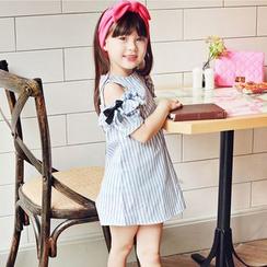 Cuckoo - 儿童条纹露肩A字连衣裙