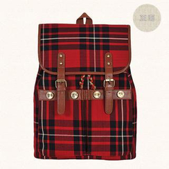 SUPER LOVER - Contrast-Trim Plaid Canvas Backpack