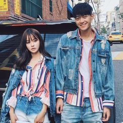 FULLHOPE - Couple Matching Distressed Denim Jacket