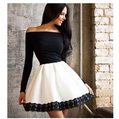 HOTCAKE - Lace Trim Off Shoulder A-line Party Dress
