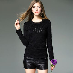Y:Q - Faux Leather Applique Long-Sleeve Lace Top