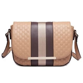 MBaoBao - Color-Block Embossed Flap Cross Bag