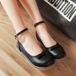 Shoes Galore - Ankle Strap Bow Flats