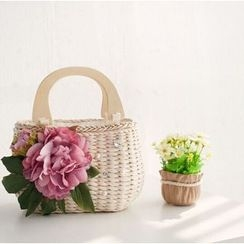 Trava - Floral Straw Handbag