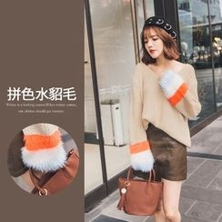 PUFII - Faux-Fur V-Neck Knit Top
