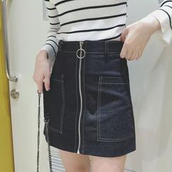 Melone - Zip Front A-Line Denim Skirt