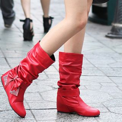 Pretty in Boots - Ruched Mid-Calf Boots