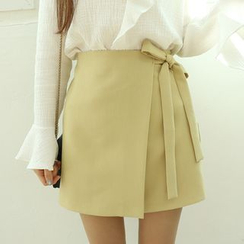 Dodostyle - Banded Tie-Waist Wrapped Skirt