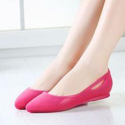 Creamy Blue - 鏤空平跟鞋