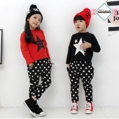nanakids - Kids Set: Star Print Brushed-Fleece Lined T-Shirt + Pants