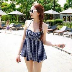 Tamtam Beach - Halter Ruffled Stripe Tankini