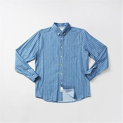THE COVER - Pocket-Front Pinstriped Denim Shirt