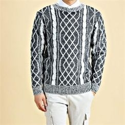 THE COVER - Contrast-Trim Cable-Knit Top