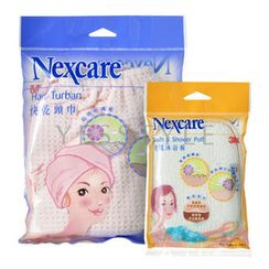 3M - Nexcare Bath Set (2 items): Hair Turban + Bath and Shower Puff
