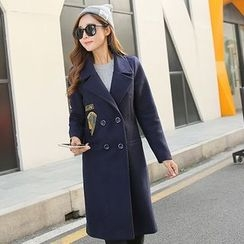 NINETTE - Notched-Lapel Double-Breasted Applique Coat
