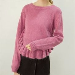 Honey House - Ruffle Hem Furry Sweater