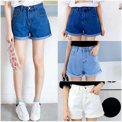 Ashlee - Cuffed High-Waist Denim Shorts