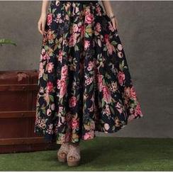 Floral Elegance - Flower Print Maxi Skirt
