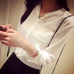 Rocho - Band Collar Elbow Sleeve Shirt