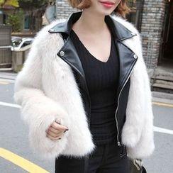 Seoul Fashion - Faux-Fur Rider Jacket