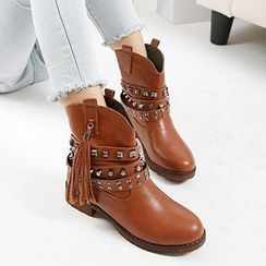 Mancienne - Tasseled Studded Ankle Boots
