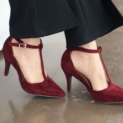 DANI LOVE - T-Strap Faux-Suede Pumps