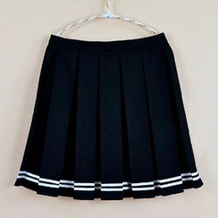 Skool - Striped Pleated Mini Skirt