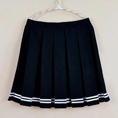 Skool - 条纹打褶裥裙