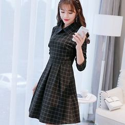 Bornite - Long-Sleeve Plaid A-Line Dress