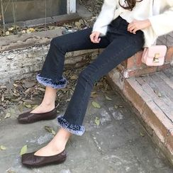 Anlay - Slim-Fit Furry Panel High-Waist Boot-Cut Jeans