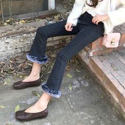 Anlay - 修身脚毛毛拼接高腰牛仔喇叭裤