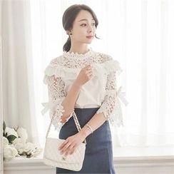 ode' - Frill-Trim Lace Top