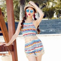 Beach Date - Set: Printed Tankini + Shorts