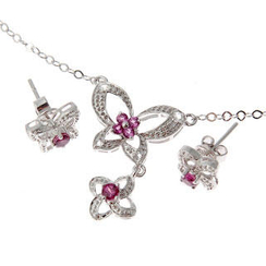 Bellini - Rhodolite And White Topaz Flower Butterfly Set