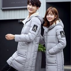 Evolu Fashion - Couple Matching Patch Embroidered Hooded Down Coat