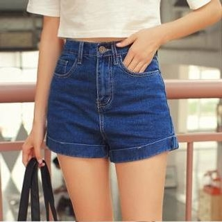 MISS BIG - High-Waist Cuffed Denim Shorts